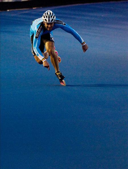 El belga W. Hebbrecht, compite en la clasificaci�n de los 300 metros
