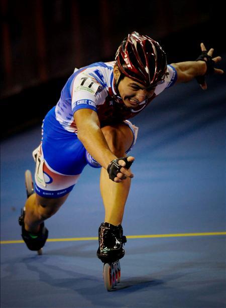 El chileno Emanuelle Silva, durante la competencia de 300 metros